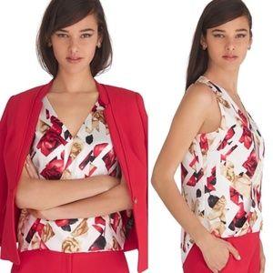 WHBM Sleeveless Silk V-Neck Geo Floral Top